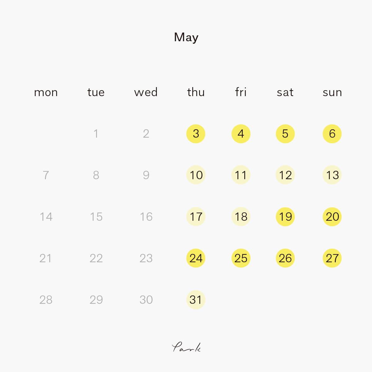 2018年5月 park営業カレンダー