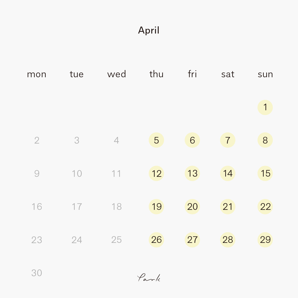 2018年4月 park営業カレンダー