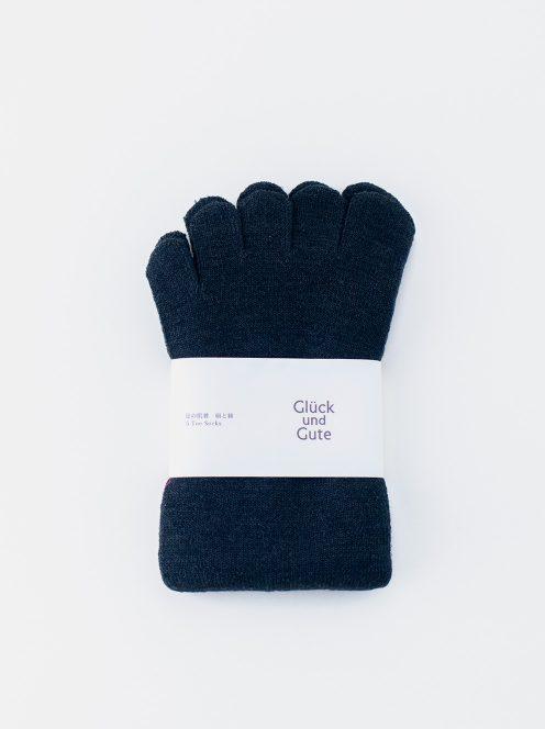 グリュックントグーテ / 五本指「足の肌着」絹と綿(チャコール)