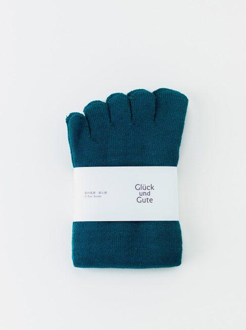 グリュックントグーテ / 五本指「足の肌着」絹と綿(ボトルグリーン)