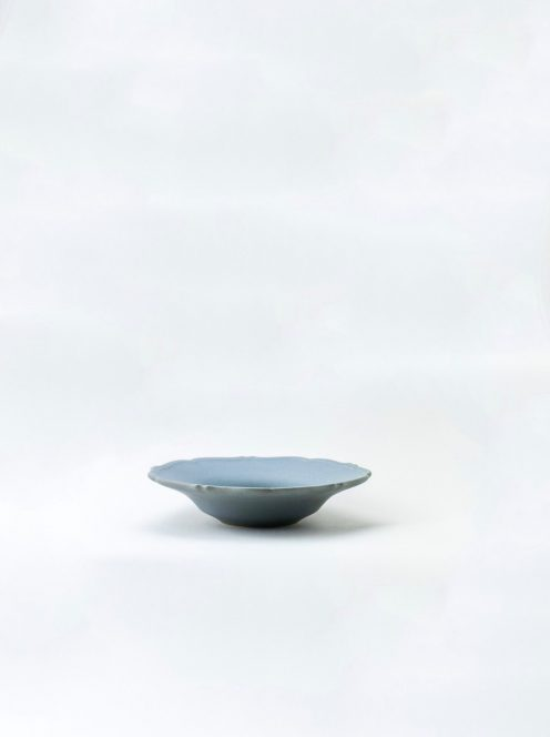 awabi ware / 輪花中深皿(青マット)