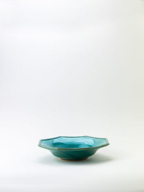 awabi ware / 八角中深皿(トルコ青)
