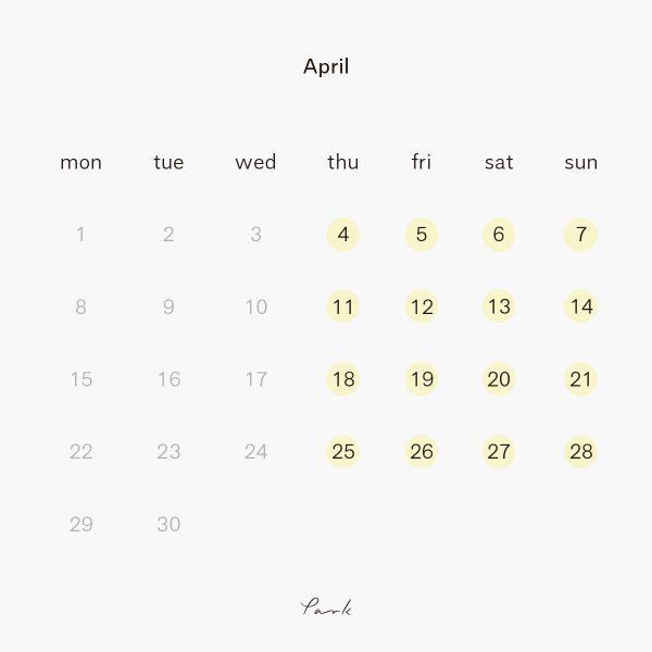 2019年4月の営業カレンダー