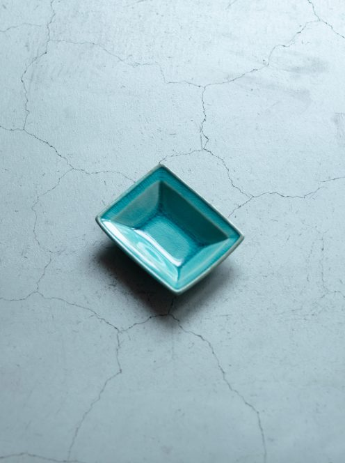 awabi ware / 長方豆皿(トルコ青)