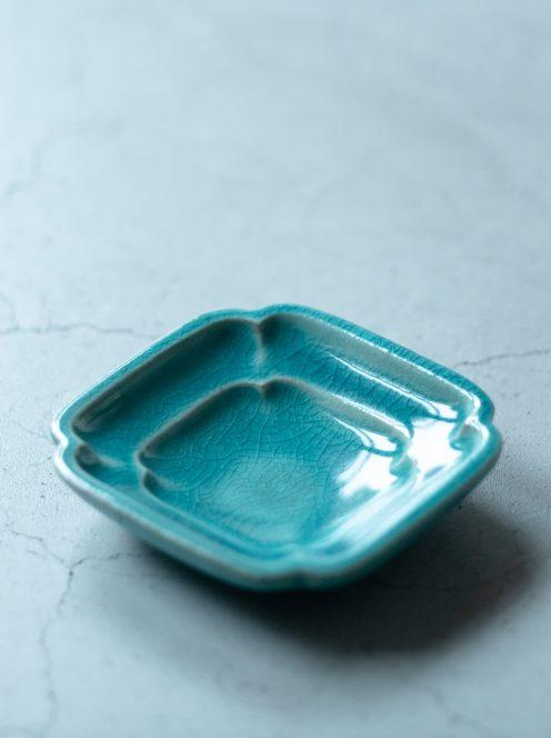 awabi ware / 四方豆皿(トルコ青)
