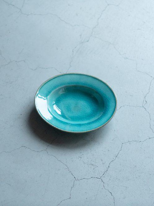 awabi ware / 楕円小皿(トルコ青)