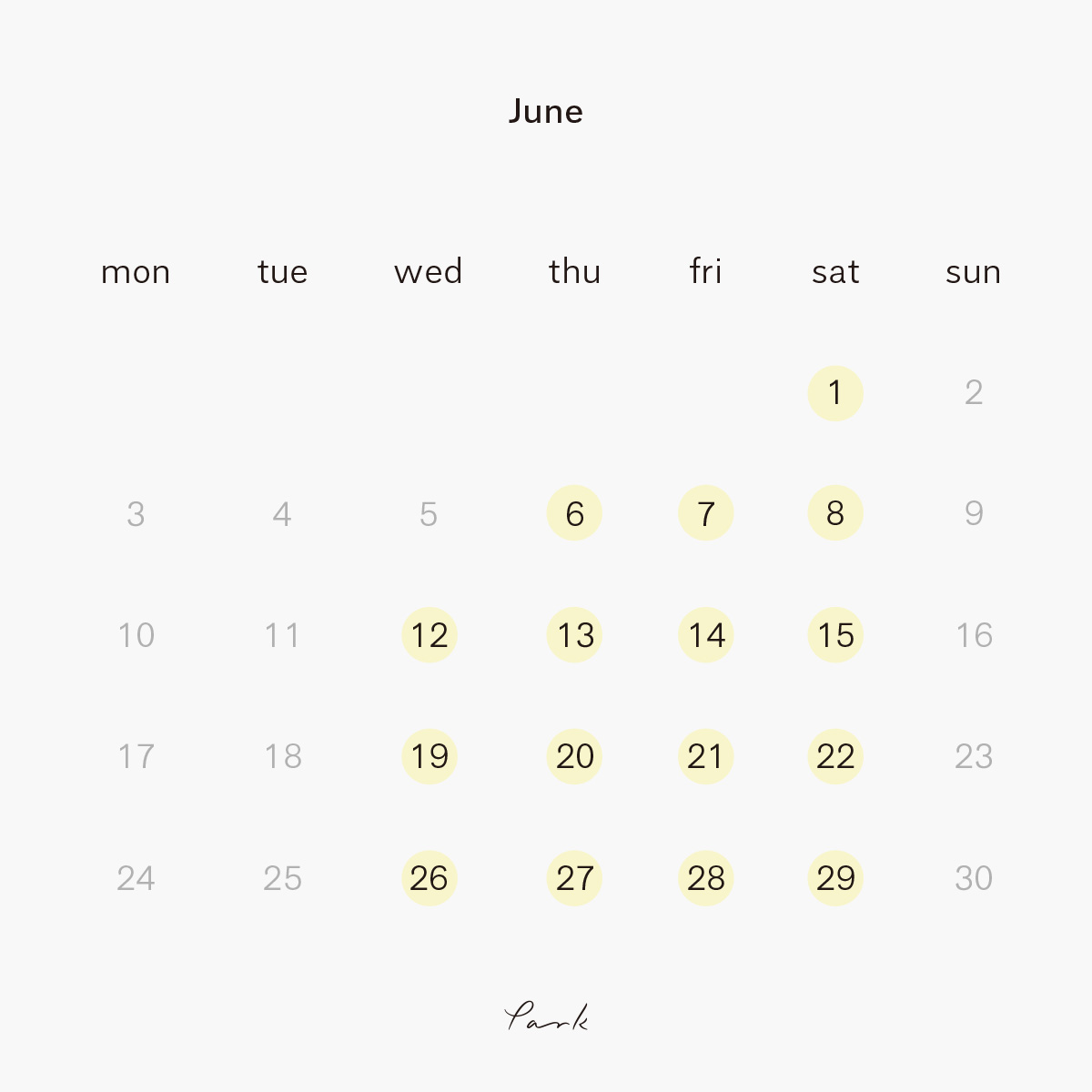 2019年6月の営業カレンダー
