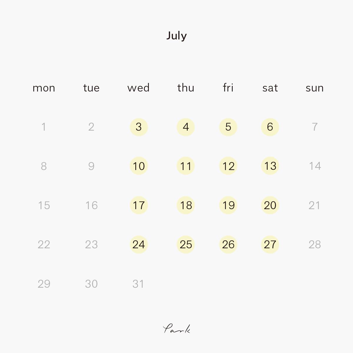 2019年7月の営業カレンダー