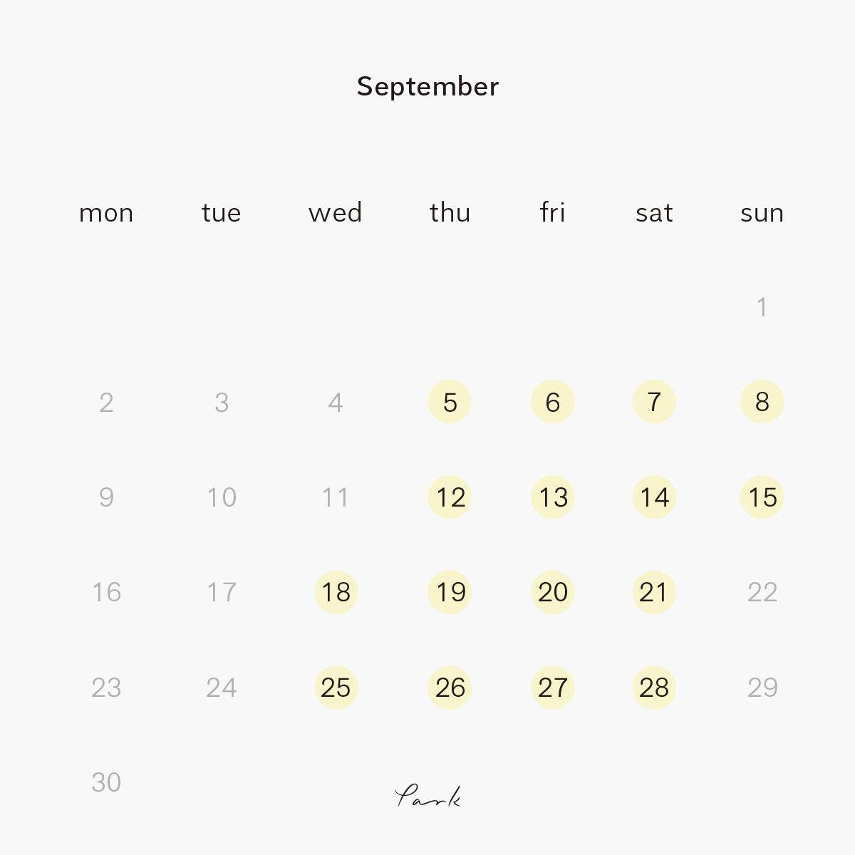 2019年9月の営業カレンダー