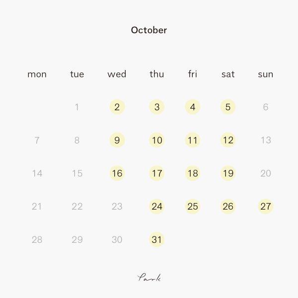 2019年10月の営業カレンダー
