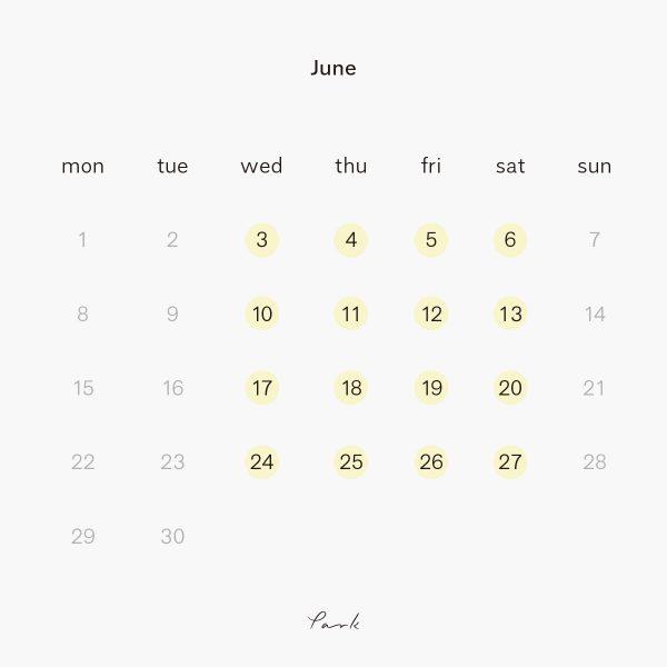 2020年6月の営業カレンダー