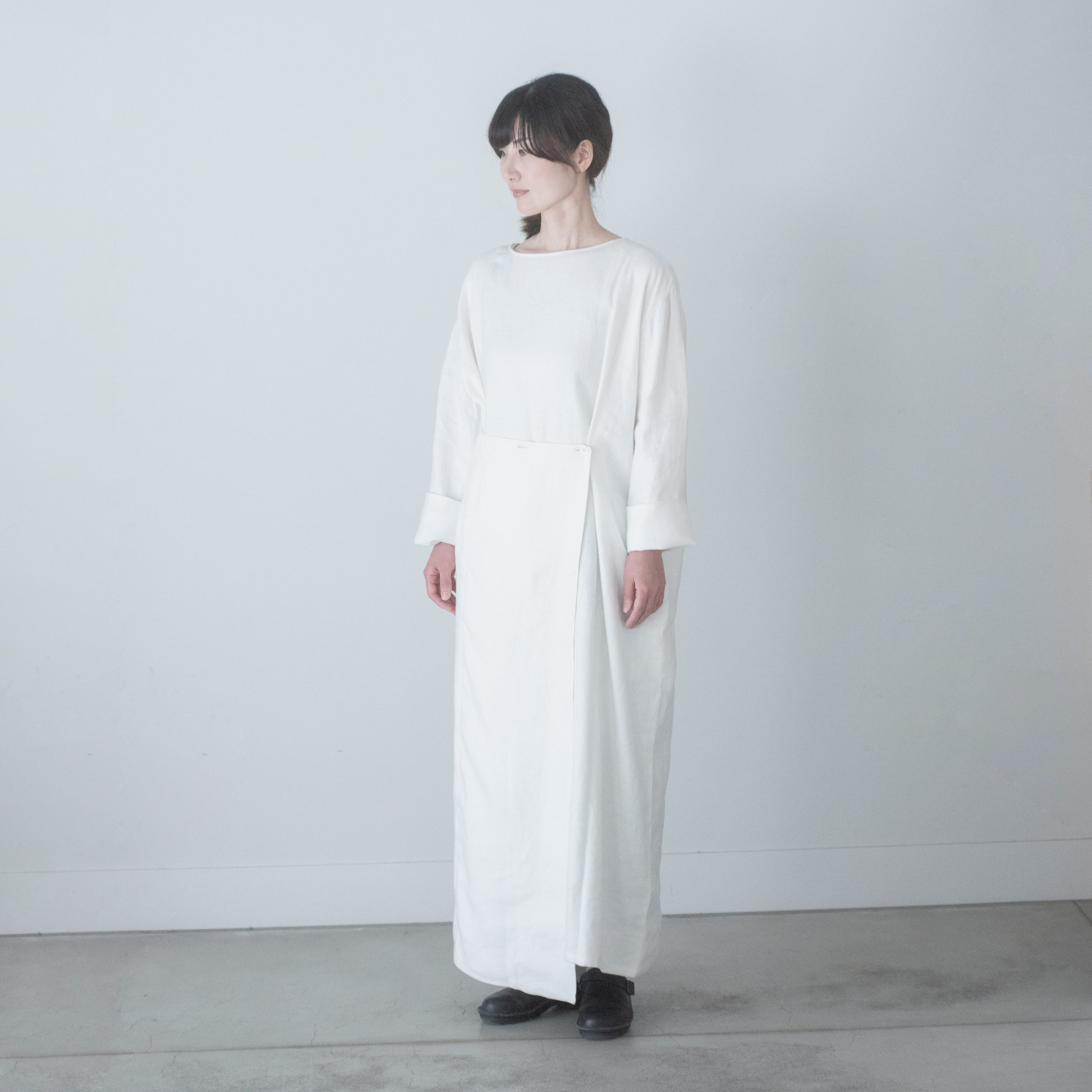 linen wrap dress(snow)