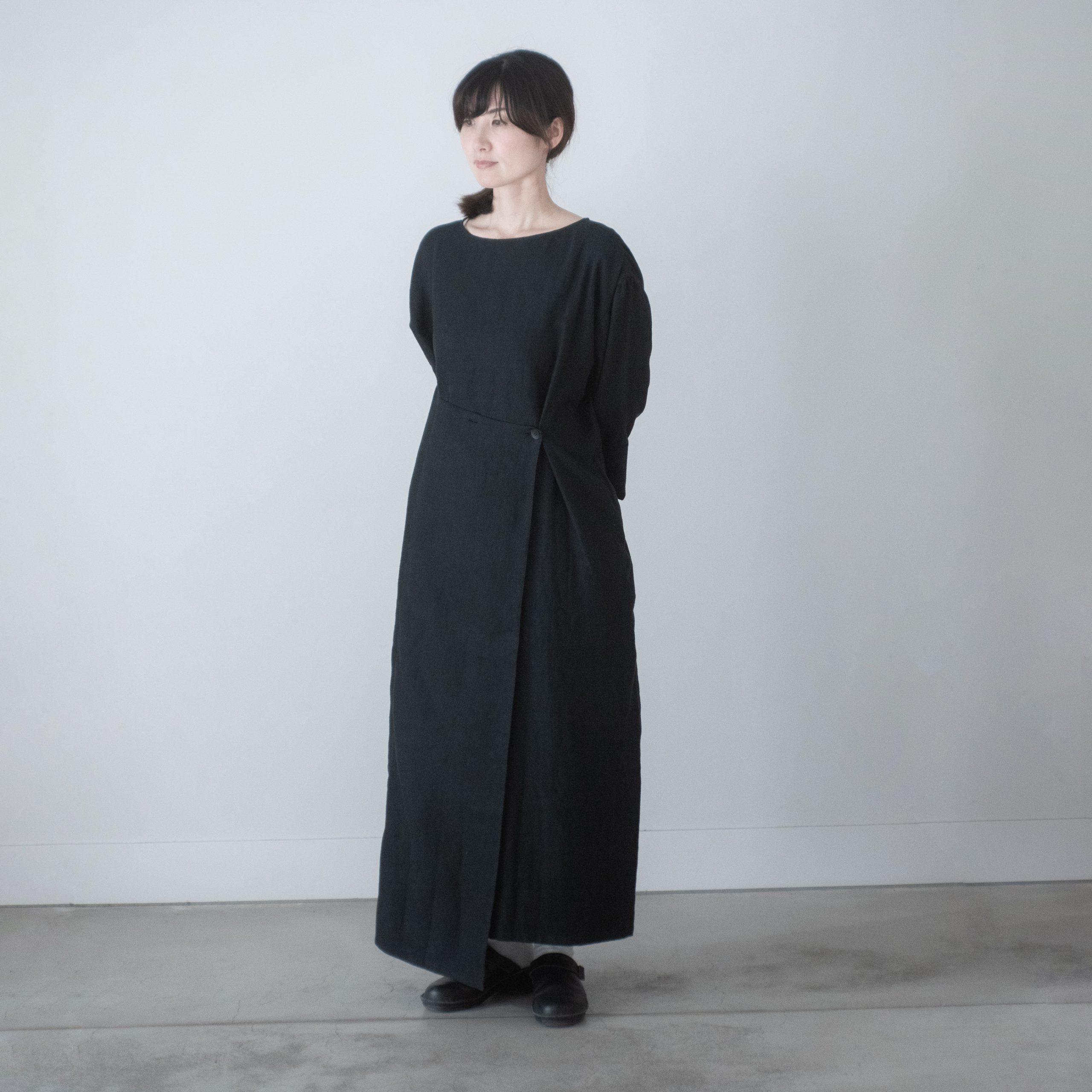 linen wrap dress(black)