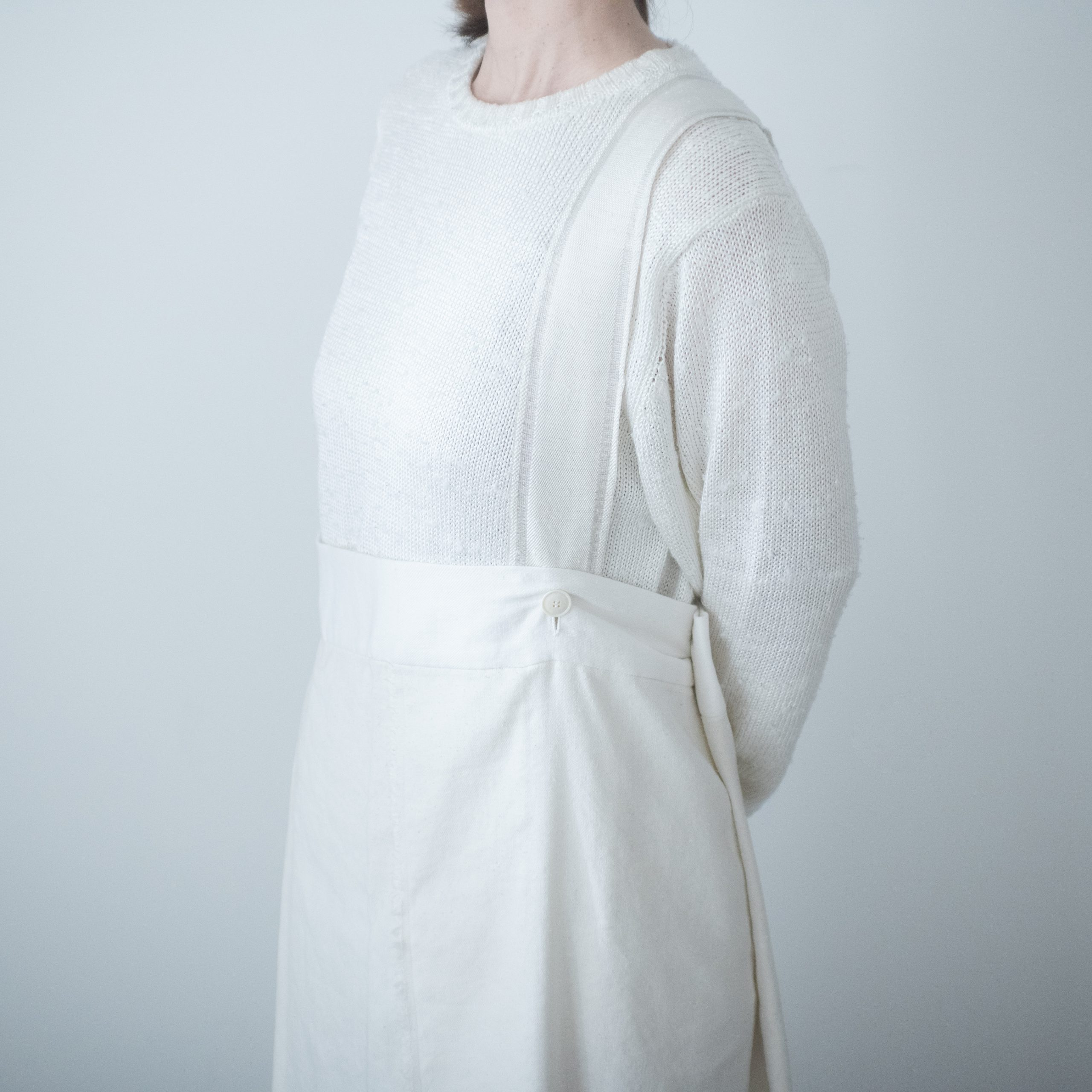 silk linen wrap skirt(white)