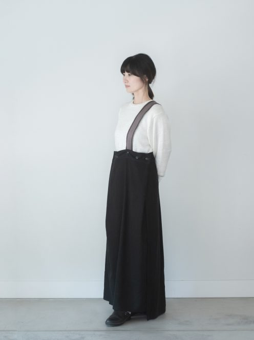 __ito__ / silk linen wrap skirt(black)