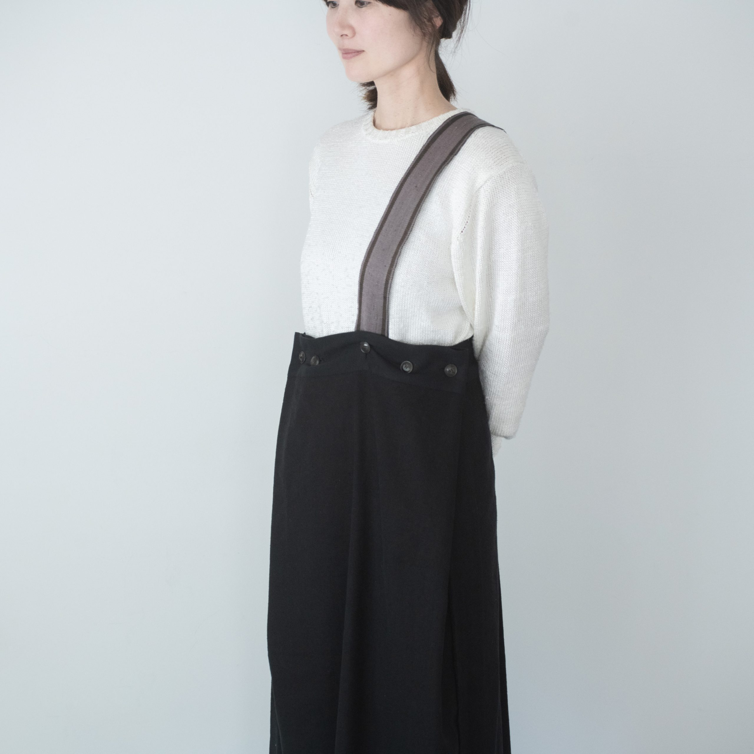 silk linen wrap skirt(black)