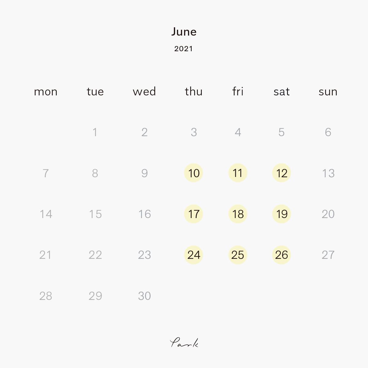 2021年6月の営業カレンダー