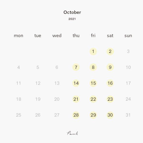 2021年10月の営業カレンダー